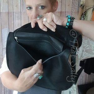 Vintage black leather coach crossbody bag